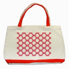 Pink Polkadot Classic Tote Bag (red) by Zandiepants