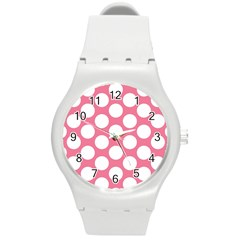 Pink Polkadot Plastic Sport Watch (medium) by Zandiepants
