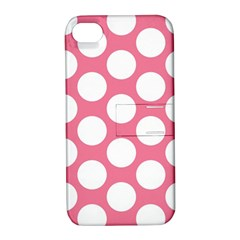 Pink Polkadot Apple Iphone 4/4s Hardshell Case With Stand by Zandiepants