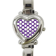 Purple Polkadot Heart Italian Charm Watch  by Zandiepants