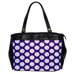 Purple Polkadot Oversize Office Handbag (one Side) by Zandiepants