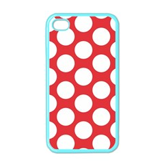 Red Polkadot Apple Iphone 4 Case (color) by Zandiepants