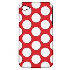 Red Polkadot Apple Iphone 4/4s Hardshell Case (pc+silicone) by Zandiepants