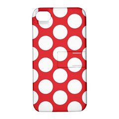 Red Polkadot Apple Iphone 4/4s Hardshell Case With Stand by Zandiepants