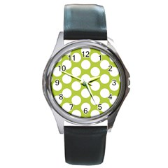 Spring Green Polkadot Round Leather Watch (silver Rim) by Zandiepants