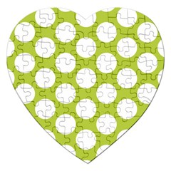 Spring Green Polkadot Jigsaw Puzzle (heart) by Zandiepants