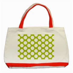 Spring Green Polkadot Classic Tote Bag (red) by Zandiepants