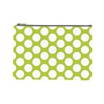 Spring Green Polkadot Cosmetic Bag (Large) Front
