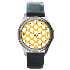 Sunny Yellow Polkadot Round Leather Watch (silver Rim) by Zandiepants
