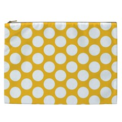 Sunny Yellow Polkadot Cosmetic Bag (xxl) by Zandiepants