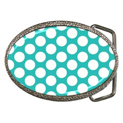Turquoise Polkadot Pattern Belt Buckle (oval) by Zandiepants