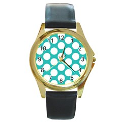 Turquoise Polkadot Pattern Round Leather Watch (gold Rim)  by Zandiepants