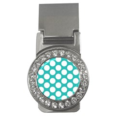 Turquoise Polkadot Pattern Money Clip (cz) by Zandiepants