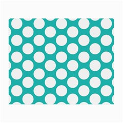 Turquoise Polkadot Pattern Glasses Cloth (small, Two Sided)