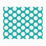 Turquoise Polkadot Pattern Glasses Cloth (Small, Two Sided) Front