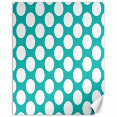 Turquoise Polkadot Pattern Canvas 11  X 14  (unframed) by Zandiepants