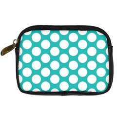 Turquoise Polkadot Pattern Digital Camera Leather Case by Zandiepants