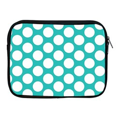Turquoise Polkadot Pattern Apple Ipad Zippered Sleeve by Zandiepants