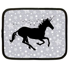Unicorn On Starry Background Netbook Sleeve (large) by StuffOrSomething