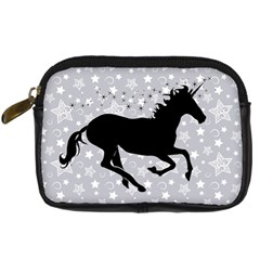 Unicorn On Starry Background Digital Camera Leather Case by StuffOrSomething