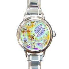 Golden Violet Sea Shells, Abstract Ocean Round Italian Charm Watch by DianeClancy