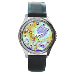 Golden Violet Sea Shells, Abstract Ocean Round Leather Watch (silver Rim) by DianeClancy