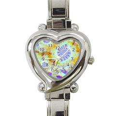 Golden Violet Sea Shells, Abstract Ocean Heart Italian Charm Watch  by DianeClancy