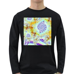 Golden Violet Sea Shells, Abstract Ocean Men s Long Sleeve T Shirt (dark Colored) by DianeClancy