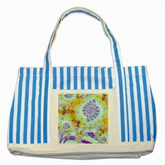 Golden Violet Sea Shells, Abstract Ocean Blue Striped Tote Bag by DianeClancy