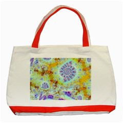 Golden Violet Sea Shells, Abstract Ocean Classic Tote Bag (red) by DianeClancy