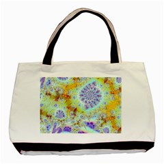 Golden Violet Sea Shells, Abstract Ocean Twin Sided Black Tote Bag by DianeClancy