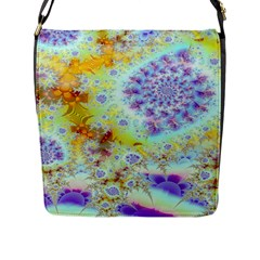 Golden Violet Sea Shells, Abstract Ocean Flap Closure Messenger Bag (large) by DianeClancy