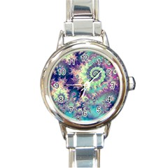 Violet Teal Sea Shells, Abstract Underwater Forest Round Italian Charm Watch by DianeClancy