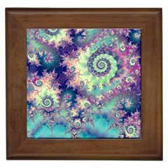 Violet Teal Sea Shells, Abstract Underwater Forest Framed Tile by DianeClancy