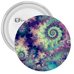 Violet Teal Sea Shells, Abstract Underwater Forest 3  Button by DianeClancy