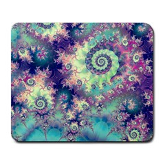 Violet Teal Sea Shells, Abstract Underwater Forest Large Mousepad