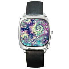 Violet Teal Sea Shells, Abstract Underwater Forest Square Metal Watch