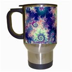 Violet Teal Sea Shells, Abstract Underwater Forest Travel Mug (White) Left