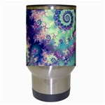 Violet Teal Sea Shells, Abstract Underwater Forest Travel Mug (White) Center