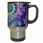 Violet Teal Sea Shells, Abstract Underwater Forest Travel Mug (White) Right