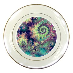 Violet Teal Sea Shells, Abstract Underwater Forest Porcelain Plate by DianeClancy
