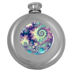 Violet Teal Sea Shells, Abstract Underwater Forest Hip Flask (5 Oz) by DianeClancy