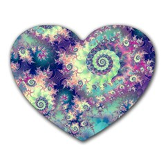 Violet Teal Sea Shells, Abstract Underwater Forest Mousepad (heart) by DianeClancy