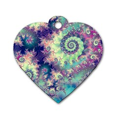 Violet Teal Sea Shells, Abstract Underwater Forest Dog Tag Heart (one Side) by DianeClancy