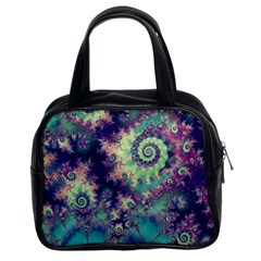 Violet Teal Sea Shells, Abstract Underwater Forest Classic Handbag (two Sides) by DianeClancy