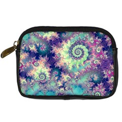Violet Teal Sea Shells, Abstract Underwater Forest Digital Camera Leather Case by DianeClancy