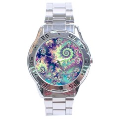 Violet Teal Sea Shells, Abstract Underwater Forest Stainless Steel Analogue Men's Watch by DianeClancy
