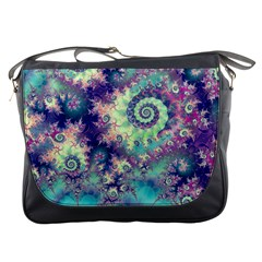 Violet Teal Sea Shells, Abstract Underwater Forest Messenger Bag by DianeClancy