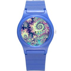 Violet Teal Sea Shells, Abstract Underwater Forest Round Plastic Sport Watch Small by DianeClancy