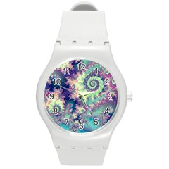 Violet Teal Sea Shells, Abstract Underwater Forest Round Plastic Sport Watch Medium by DianeClancy